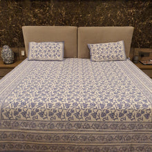 Load image into Gallery viewer, Ink Blue Print On White  Pure Cotton Handloom Block Printed Bedsheet with 2 Pillow Covers