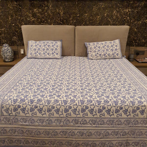 Ink Blue Print On White  Pure Cotton Handloom Block Printed Bedsheet with 2 Pillow Covers