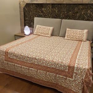 Light Brown and yellow print on Cream Base Floral Pure Cotton Handloom Block Printed Bedsheet with 2 Pillow Covers(KING SIZE)