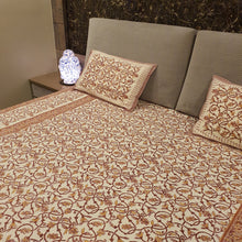 Load image into Gallery viewer, Light Brown and yellow print on Cream Base Floral Pure Cotton Handloom Block Printed Bedsheet with 2 Pillow Covers(KING SIZE)