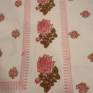Pink Rose Print  Floral Pure Cotton Handloom Block Printed Bedsheet with 2 Pillow Covers