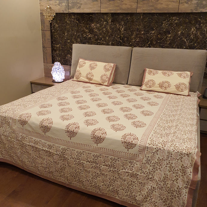 Light Brown and beige print On Cream Pure Cotton Handloom Block Printed Bedsheet with 2 Pillow Covers