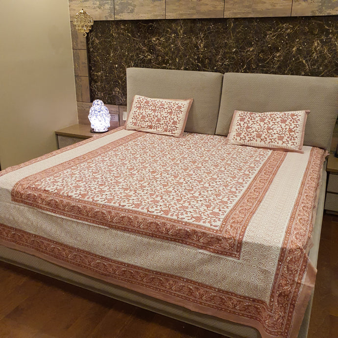 Blush Pink On Off White Base Floral Pure Cotton Handloom Block Printed Bedsheet with 2 Pillow Covers(KING SIZE)