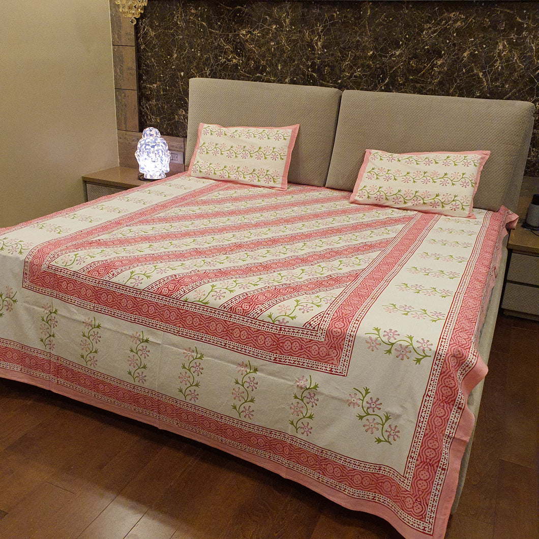 Pink & Green Print On Off White  Pure Cotton Handloom Block Printed Bedsheet with 2 Pillow Covers