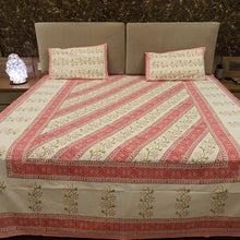 Load image into Gallery viewer, Pink & Green Print On Off White  Pure Cotton Handloom Block Printed Bedsheet with 2 Pillow Covers
