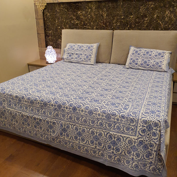Ink Blue Print On Off White  Pure Cotton Handloom Block Printed Bedsheet with 2 Pillow Covers