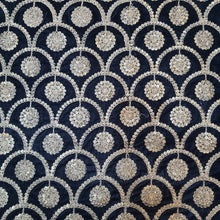 Load image into Gallery viewer, Black Micro Velvet with Golden Zari Embroidered Fabric