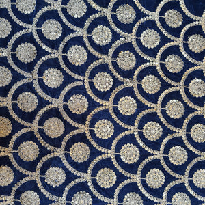 Navy  Blue Micro Velvet with Golden Zari Embroidered Fabric