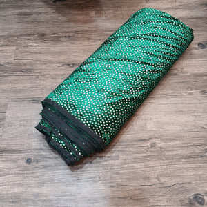 Bottle Green with Golden Foil Velvet Fabric