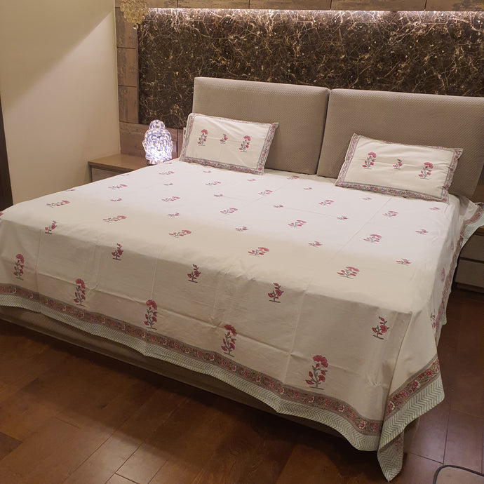 Pink & Sky Blue Print on Milky White Base Floral Pure Cotton Handloom Block Printed Luxurious Bedsheet with 2 Pillow Covers(KING SIZE-XL)