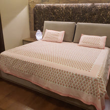 Load image into Gallery viewer, Pink Print on Milky White Base Floral Pure Cotton Handloom Block Printed  Bedsheet with 2 Pillow Covers(SUPER KING SIZE-XXL)