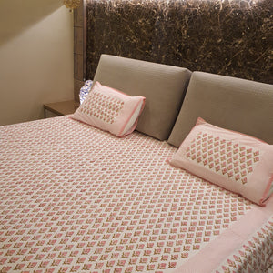 Pink Print on Milky White Base Floral Pure Cotton Handloom Block Printed  Bedsheet with 2 Pillow Covers(SUPER KING SIZE-XXL)