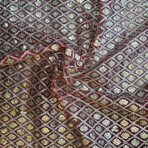 Bright Red and Golden Net Sequence Embroidered Fabric