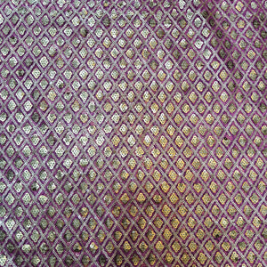 Rani Pink and Golden Net Sequence Embroidered Fabric