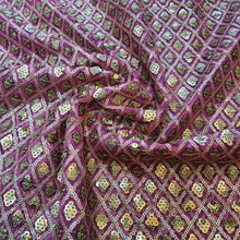 Load image into Gallery viewer, Rani Pink and Golden Net Sequence Embroidered Fabric