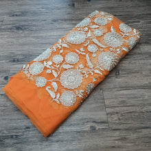 Load image into Gallery viewer, Orange with Water Gold Zari Embroidered Net Fabric
