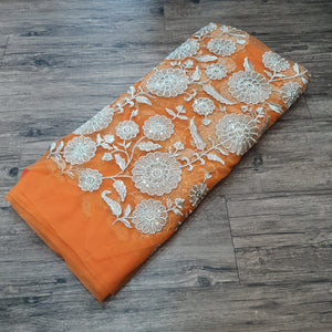 Orange with Water Gold Zari Embroidered Net Fabric