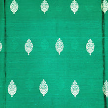 Load image into Gallery viewer, Bottle Green Kaduva Buta Water Gold Zari Work Pure Raw Silk (100 gms) Fabric