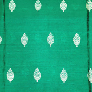 Bottle Green Kaduva Buta Water Gold Zari Work Pure Raw Silk (100 gms) Fabric
