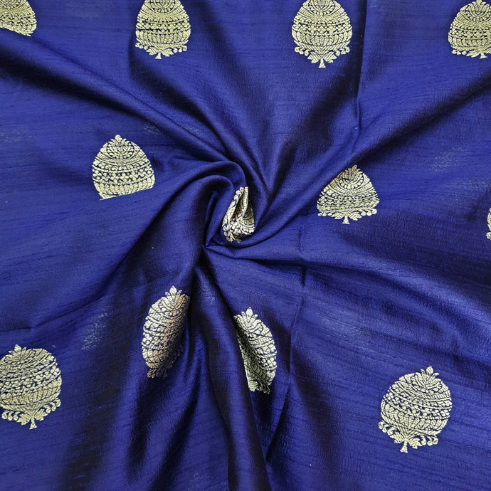 Royal Blue Kaduva Buta Water Gold Zari Work Pure Raw Silk (100 gms) Fabric
