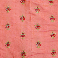 Load image into Gallery viewer, Peach Pink Floral buti Zari Embroidered Barfi  Silk  Fabric