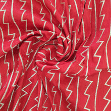 Load image into Gallery viewer, Red Abstract Zari Semi Raw Silk Embroidered Fabric