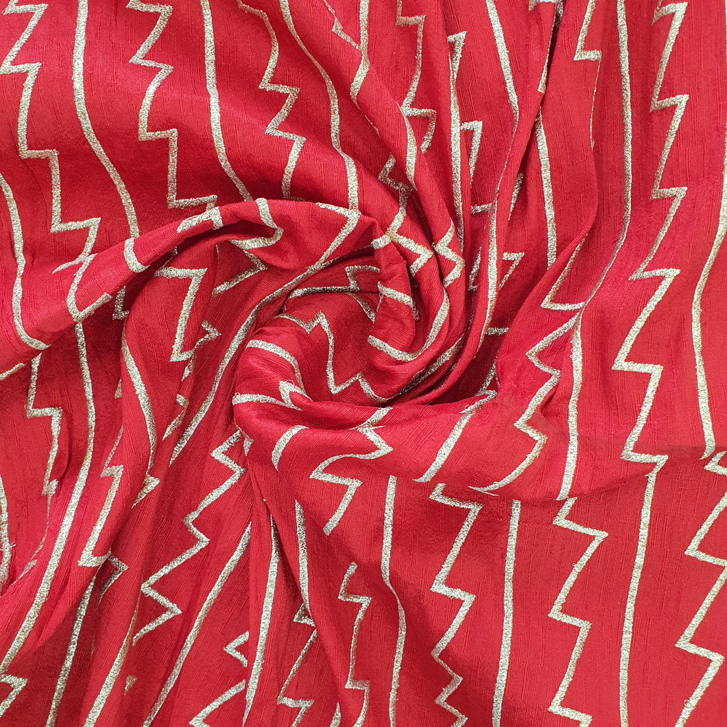 Red Abstract Zari Semi Raw Silk Embroidered Fabric