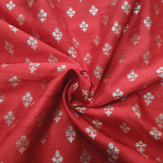 Red Kaduva Buta Water Gold Zari Work Pure Raw Silk (100 gms) Fabric