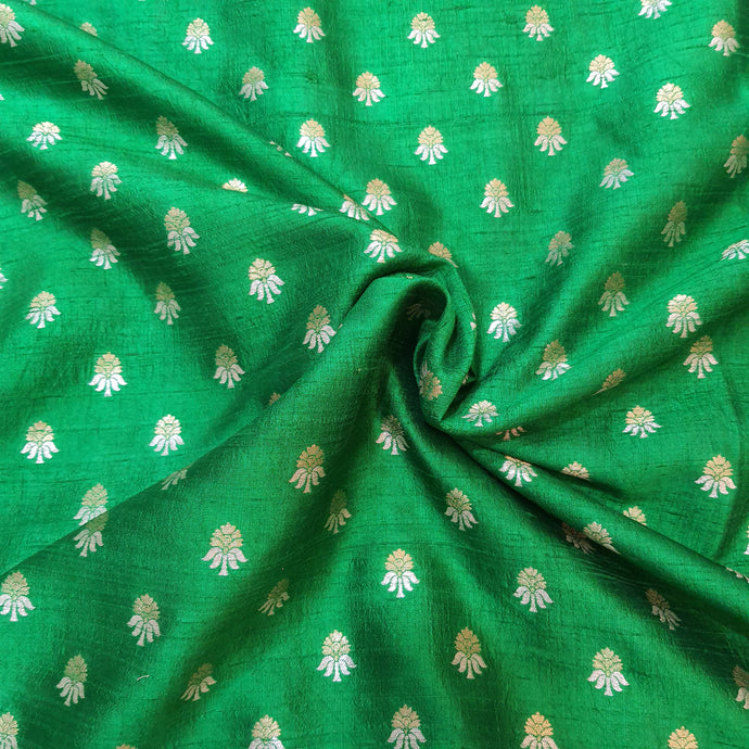 Green Kaduva Buta Water Gold Zari Work Pure Raw Silk (100 gms) Fabric