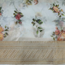 Load image into Gallery viewer, Both side Banarsi Border Beautiful White Floral Digital Print with  Banarsi Zari Border Organza Fabric