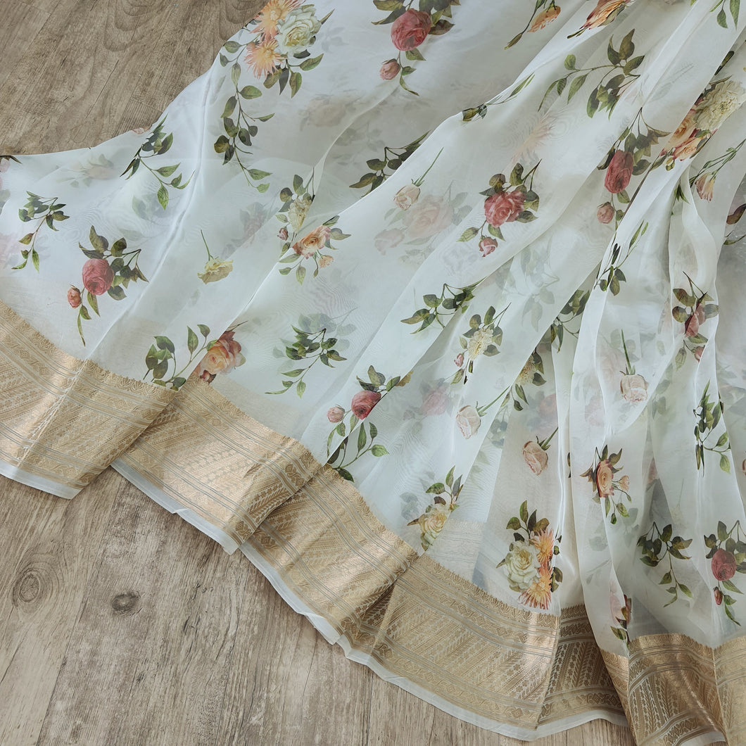 Both side Banarsi Border Beautiful White Floral Digital Print with  Banarsi Zari Border Organza Fabric