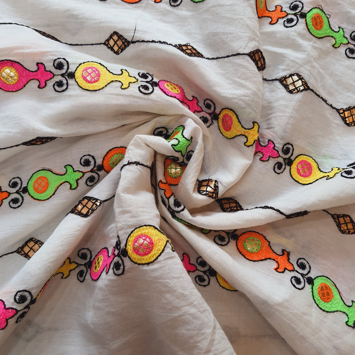 White Cotton Fabric with Multi color Thread work and Faux mirror Embroidered