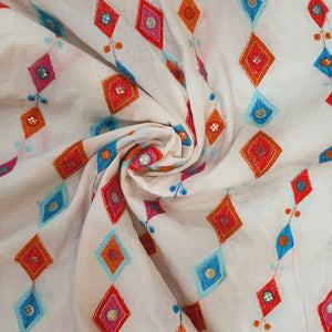White Cotton Fabric with Multi color Diamond Style Thread work and Faux mirror Embroidered