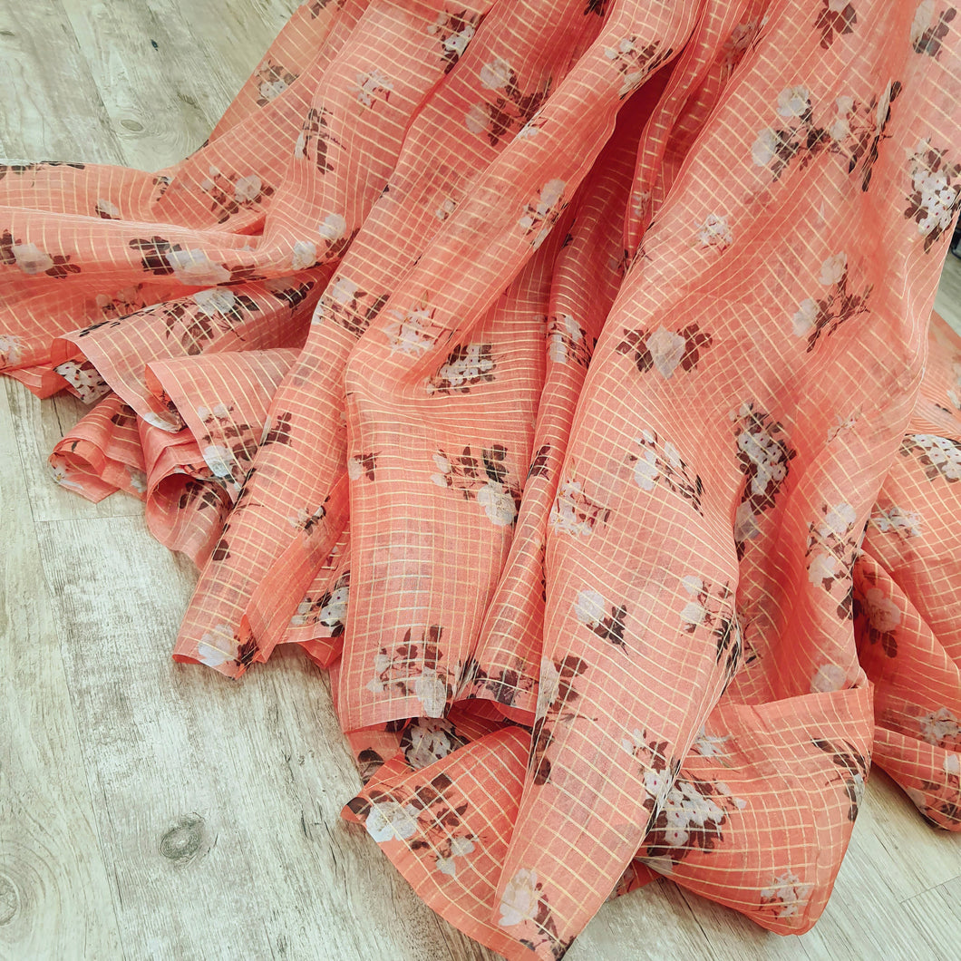 Peach Orange Floral Digital Printed with Gold Zari Checks Pattern Organza Fabric