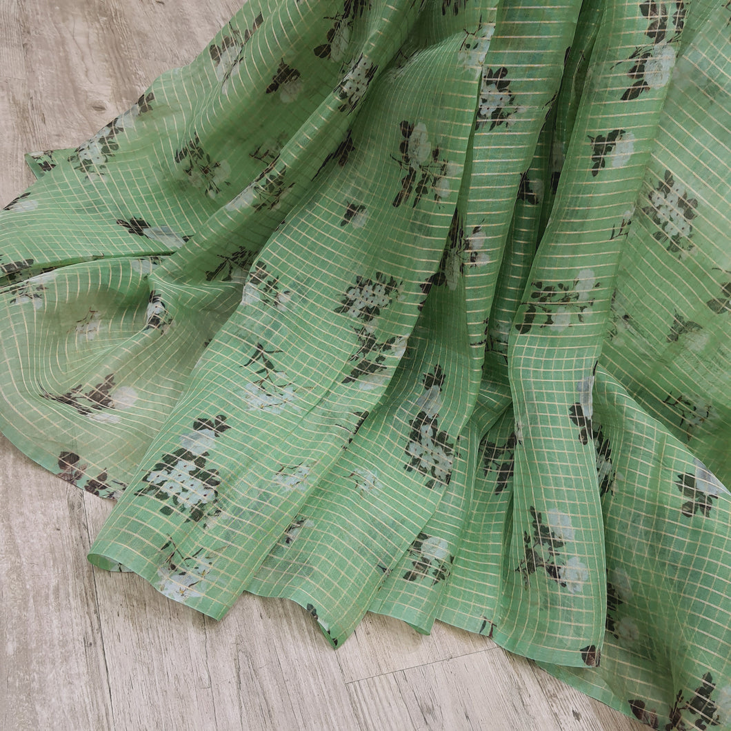 Green Floral Digital Printed with Gold Zari Checks Pattern Organza Fabric