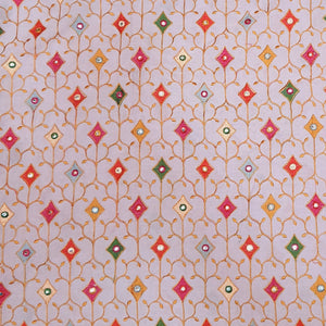Light Pink Cotton Fabric with Multi Color Thread work and Faux mirror Embroidered