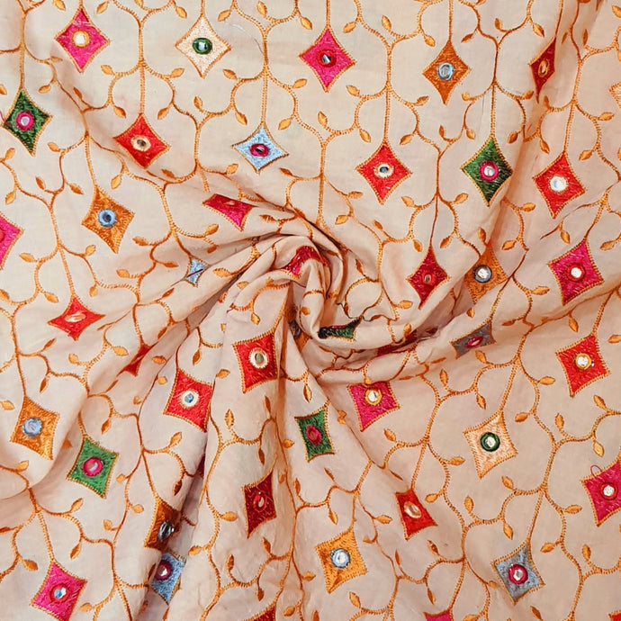 Peach Cotton Fabric with Multi Color Thread work and Faux mirror Embroidered