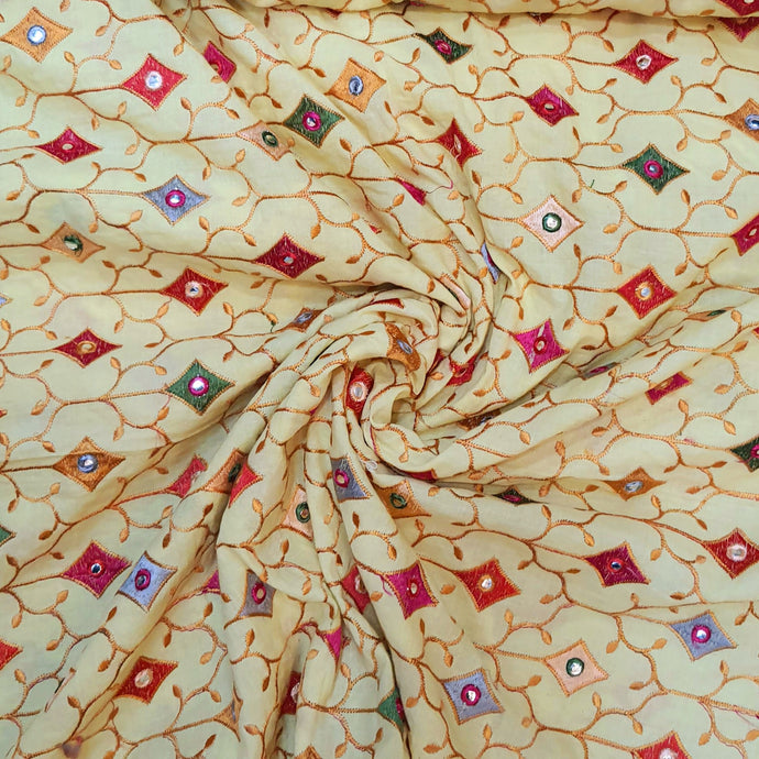 Yellow Cotton Fabric with Multi Color Thread work and Faux mirror Embroidered