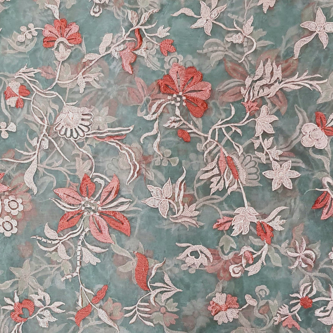 Grey Base with Red & Peach Embroidery Viscos Organza Embroidered Fabric