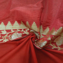 Load image into Gallery viewer, Double Tone Red Base Chanderi Top & Bottom Set - 2.5 mtr each