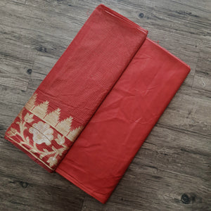 Double Tone Red Base Chanderi Top & Bottom Set - 2.5 mtr each