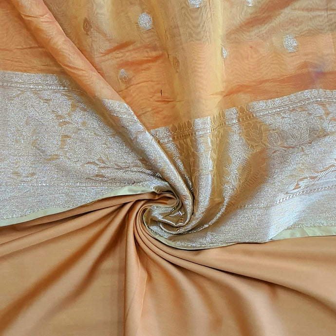 Double Tone Peach Orange Base Chanderi Top & Bottom Set - 2.5 mtr each