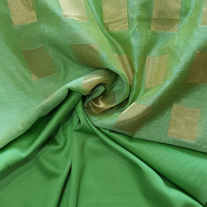 Double Tone Parrot Green Base Chanderi Top & Bottom Set - 2.5 mtr each