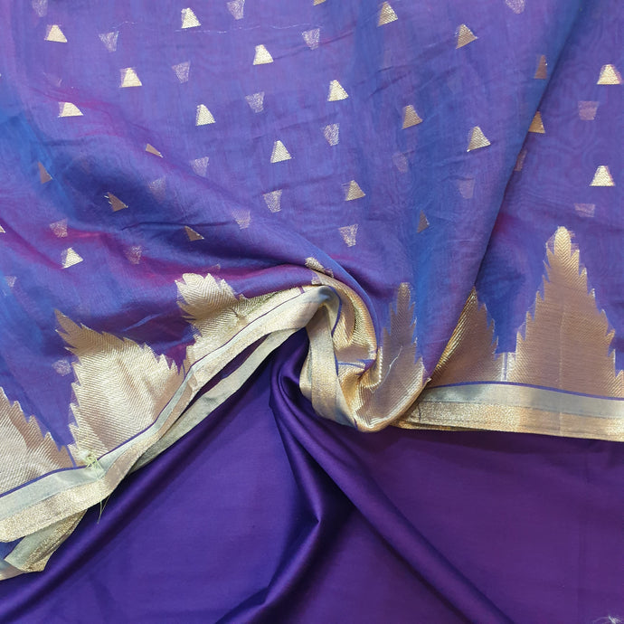 Double Tone Purple Base Chanderi Top & Bottom Set - 2.5 mtr each