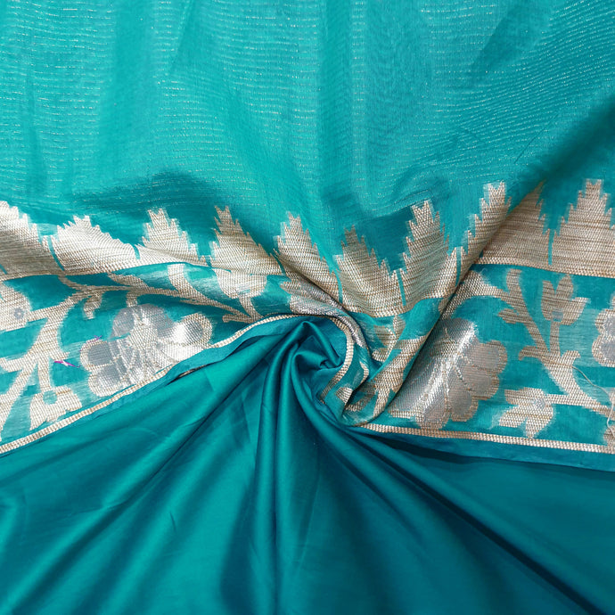 Double Tone Turquoise Blue Base Chanderi Top & Bottom Set - 2.5 mtr each