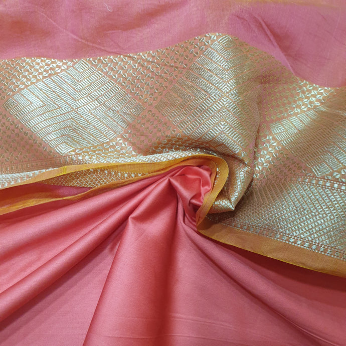 Double Tone Peach Base Chanderi Top & Bottom Set - 2.5 mtr each