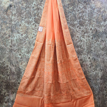 Load image into Gallery viewer, Peach Orange Pure Crepe Saree With Resham Thread Work