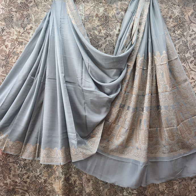 Grey Pure Crepe Saree With Resham Thread Work