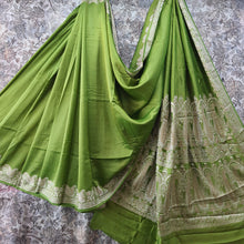 Load image into Gallery viewer, Mehandi Green Pure Crepe Saree With Resham Thread Work
