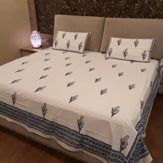 Aqua   & Navy Blue Print on Milky White Base Floral Pure Cotton Handloom Block Printed Luxurious Bedsheet with 2 Pillow Covers(KING SIZE-XL)